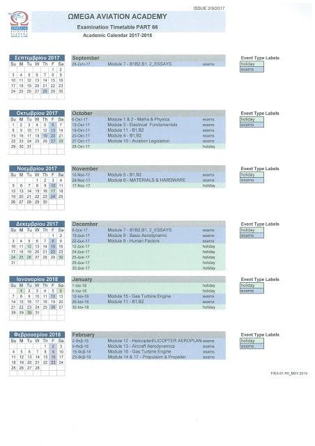 Examination Timetable Part 66